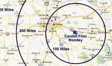 Driving directions and maps to Canton Texas for First Monday Trade Days