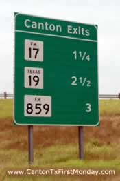 Canton Texas I-20 Exits for First Monday Trade Days