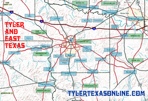 Canton, Tyler and the East Texas area map